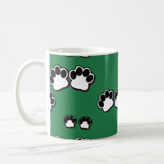 Paw Prints on Green Coffee Mug