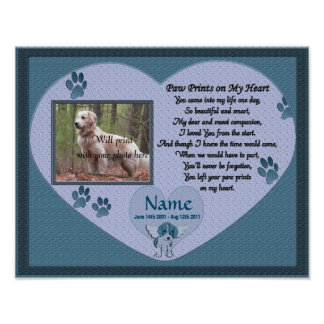 Paw Prints on My Heart - Blue Dog Memorial Poster