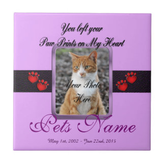 Paw Prints on My Heart - Mauve Tile