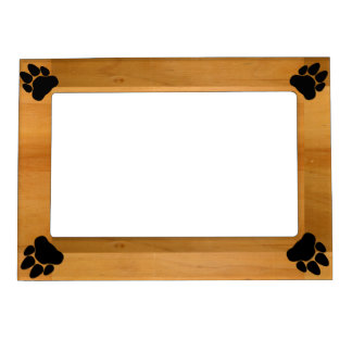 Paw Prints on Wood Magnetic Frame