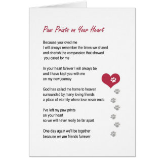 Paw Prints On Your Heart pet sympathy card