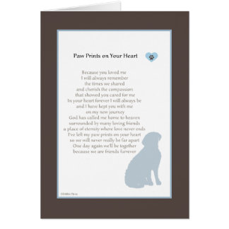 Paw Prints On Your Heart sympathy dog sympathy Card