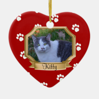 Paw Prints Pet Photo Frame Red Ceramic Ornament