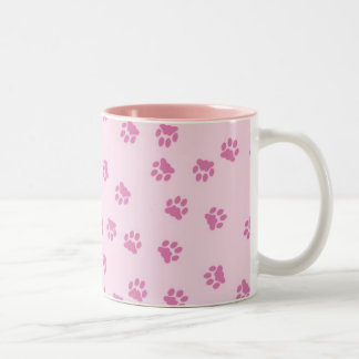 Paw Prints Pink Two-Tone Coffee Mug