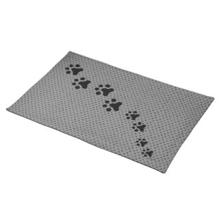 Paw Prints Placemat (grey polkadot)