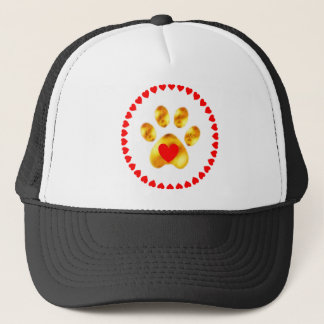 paw with hearts trucker hat