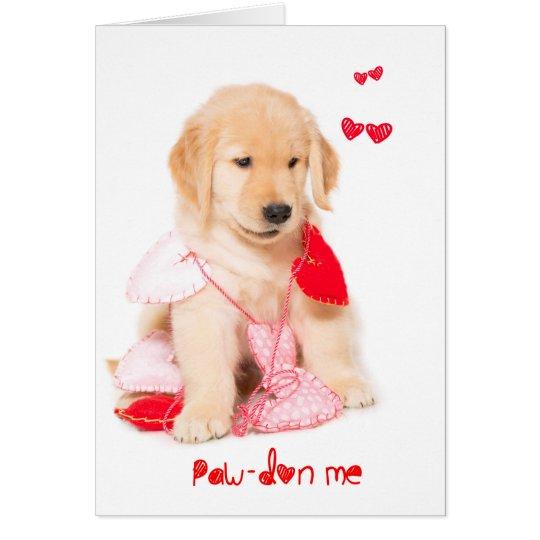 Pawdon Me Golden Retriever Puppy Valentine Card