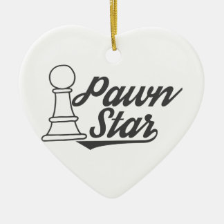 pawn star chess club ceramic heart ornament
