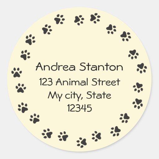 Pawprint circle address label - pale yellow round stickers