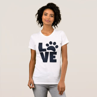 Pawprint Love in Black T-Shirt