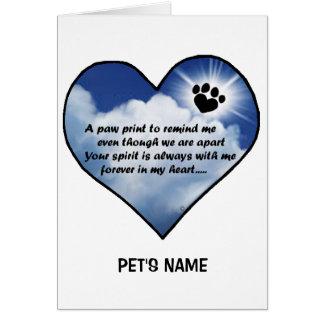 Pawprint Memorial Poem Card