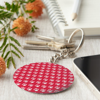 Pawprint Pattern (red & white) Keychain