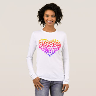 Pawprint Rainbow Heart Long Sleeve T-Shirt