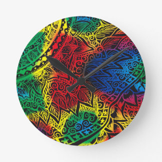 Pawprint Rainbow Round Clock