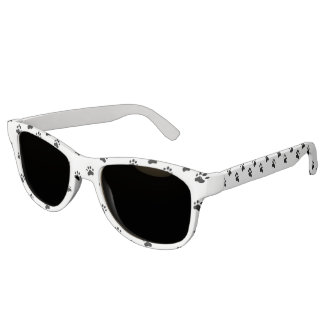 Pawprints - Black and White Sunglasses