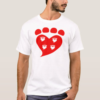 Pawprints Heart Logo T T-Shirt