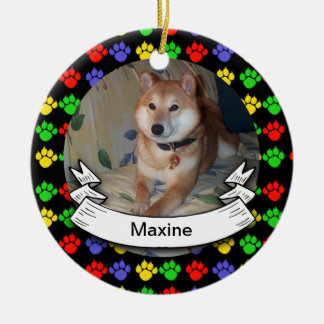Pawprints Personalized Photo Round Ornament