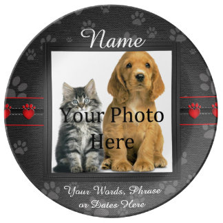 Pawprints Pet Memorial Porcelain Plates