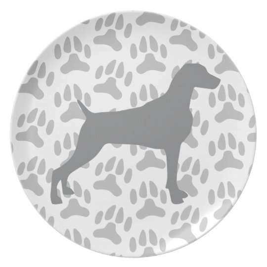PAWPRINTS WITH TAUPE WEIMARANER SILHOUETTE PLATE