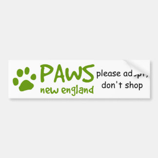 PAWS, adopt don't shop bumper sticker