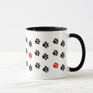 """Paws All-over"" Black, White & Red pawprints Mug"