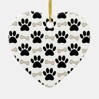 Paws And Bones Pattern Ceramic Heart Ornament