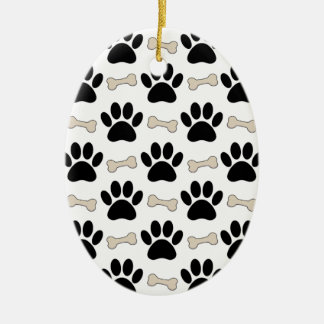 Paws And Bones Pattern Ceramic Oval Ornament