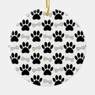 Paws And Bones Pattern Round Ceramic Ornament