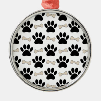 Paws And Bones Pattern Silver-Colored Round Ornament