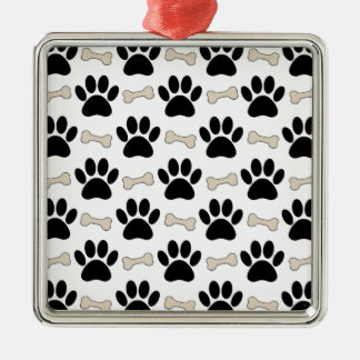 Paws And Bones Pattern Silver-Colored Square Ornament