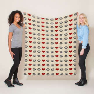 Paws and Hearts Fleece Blanket
