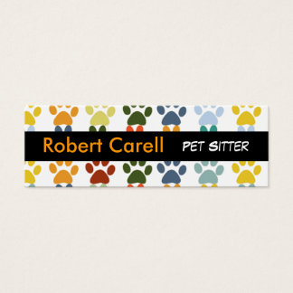 Paws Cute & Fancy Colorful Animal  Pet Mini Business Card