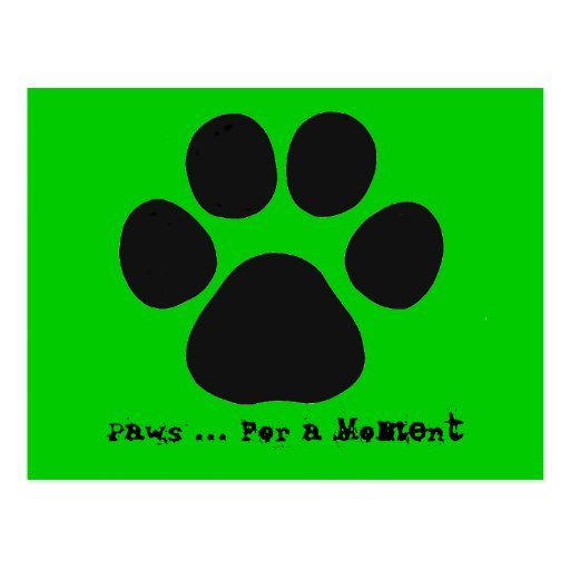 Paws For a Moment Postcard (green)