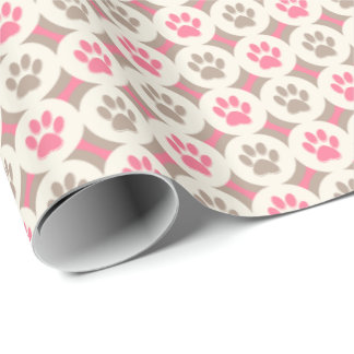 Paws-for-Giving Gift Wrap (Cherry/Tan)