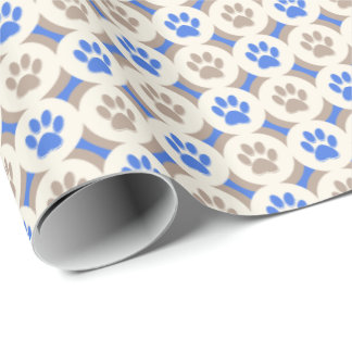 Paws-for-Giving Gift Wrap (Cobalt/Tan)
