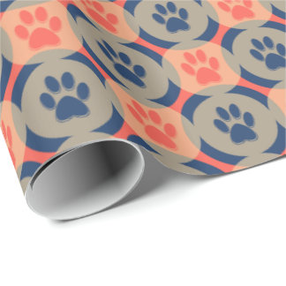 Paws-for-Giving Gift Wrap (Orange/Navy)