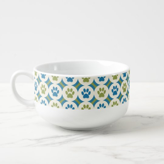 Paws-for-Soup Mug (Olive/Teal) Soup Bowl With Handle