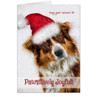 Pawsitively Joyful Australian Shepherd Santa Card