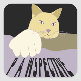 Pawspective Cat Art in Perspective Square Sticker