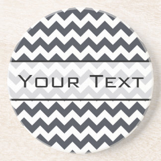 Paynes Grey Chevron with Custom Text Coaster