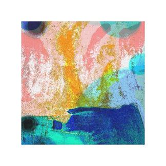 Paysage abstrait dans les roses et les bleus toile tendue