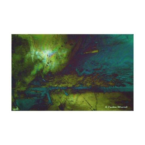 Paysage abstrait du © P Wherrell dans le bleu et l Toile Tendue Sur Châssis