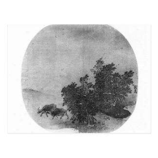 Paysage avec le buffle d'eau, dynastie de chanson cartes postales