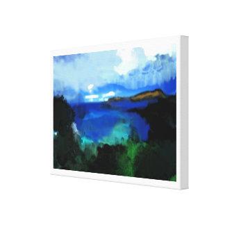 paysage bleu d'abrégé sur aquarelle toiles tendues sur châssis