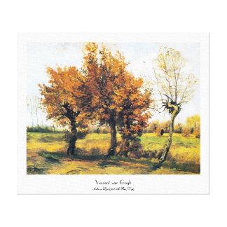 Paysage d'automne avec quatre arbres impression sur toile