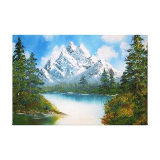 Paysage de montagne dans la peinture à l'huile de  toiles tendues sur châssis
