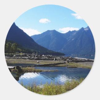 Paysage de nature de lac mountain sticker rond