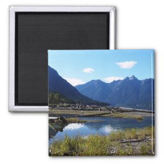 Paysage de nature de lac mountain magnet carré