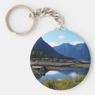 Paysage de nature de lac mountain porte-clé rond