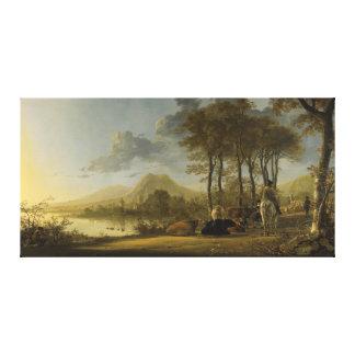 Paysage de rivière avec le cavalier et les paysans toile tendue sur châssis